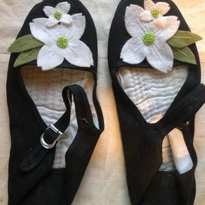 Black Ballet Slippers, with White flower accents,